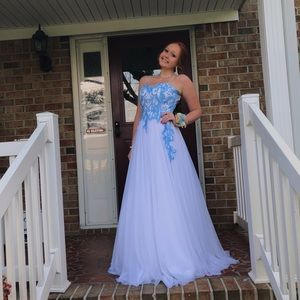 Long Tool Blue and White Brand New Prom Dress